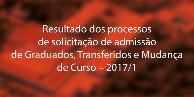 Resultado dos processos de solicitação de admissão de Graduados, Transferidos e Mudança de Curso – 2017/1